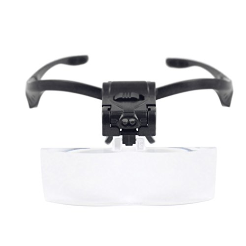 Magnifying Glass Headband Eye Glasses LED Magnifier Glass Jeweler Loupe Glass Magnify Head Mount Magnifying Magnifier for Reading, Jewelry Loupe, Watch Electronic Repair ()