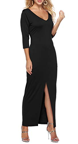 Womens Dresses V Neck 3/4 Sleeve Casual Front Split Long Maxi Dress with Pockets Black XL