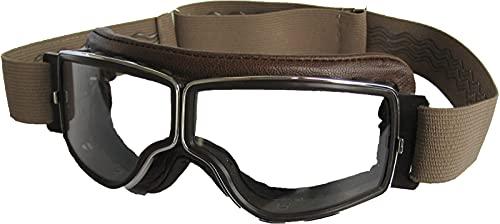 Aviator Motorradbrille T2 Chrom, Leder braun, Gläser klar