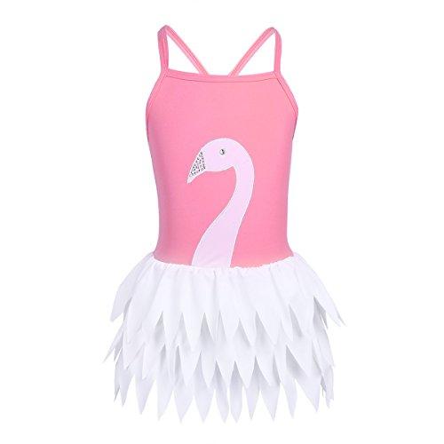 Freebily Little Big Girls Swan Ruffles Tutu Ballet Style One-Piece Swimsuit Camisole Bathing Suit Hot Pink 10 by Freebily