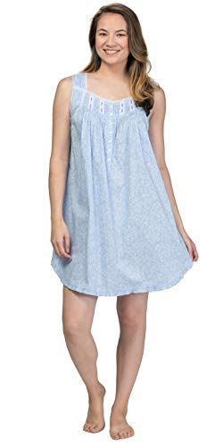 (Eileen West Short Nightgown - Cotton Lawn Sleeveless in Dainty Vine (Blue/White Vines, X-Large))