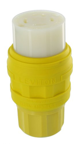 Leviton 78W74-C 30 Amp 125/250V, NEMA L14-30, 3P, 4W Industrial Grade, Grounding, Wetguard Locking Connector for Single Inlet, Yellow (Wetguard Connector)