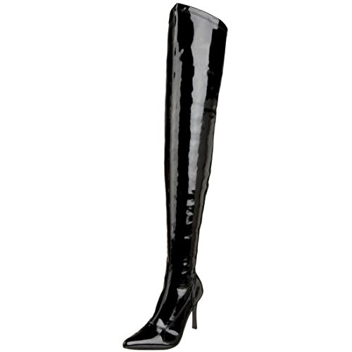 Summitfashions Womens Pointed Toe Boots 3 3/4 Inch Heel Thigh High Boots Black Red Dress Shoes Size: 10 Colors: -