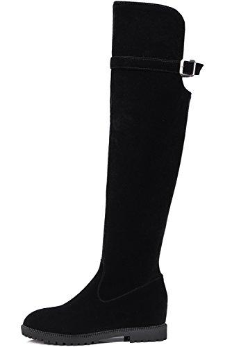 Casual Negro Ante Altas Botas BIGTREE Planas largas Aumento Botas Mujer altas Invierno De sintética Elegantes Negro 80Ep4q