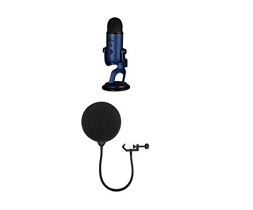 Blue Yeti USB Microphone - Midnight Blue with Dragonpad Pop