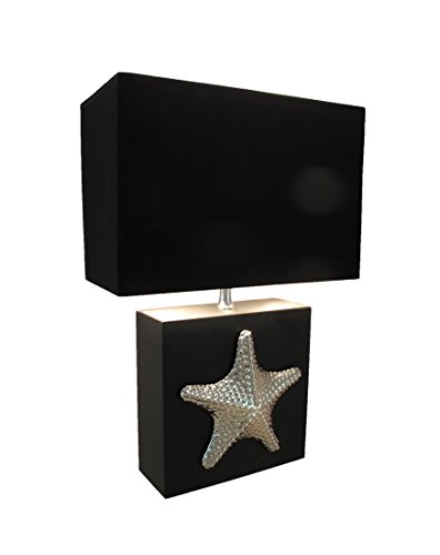 Price comparison product image 16 Inch Chrome Plated Starfish Table Lamp with Fabric Shade