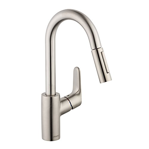 Hansgrohe  Focus 2-Spray Prep Kitchen Faucet, Steel Optik (Faucet Hansgrohe Spray)