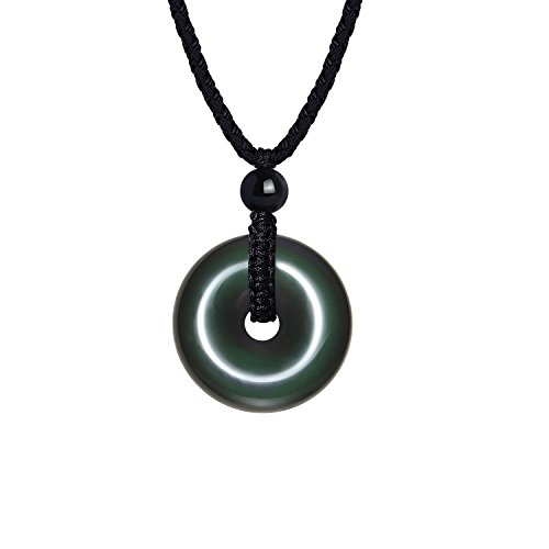HASKARE Natural Energy Stone Necklace Round Rainbow Obsidian Healing Pendant Necklace Adjustable 27.5inch