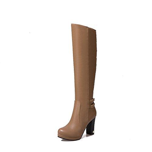 CXQ-Boots qin&X Women's Round Toe Block Heel Heels Long Boots Shoes Big size apricot wYqlVzf4np