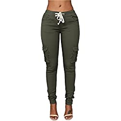 Pxmoda Womens Casual Stretch Drawstring Skinny Pants Cargo Jogger Pants (XL, Army Green)