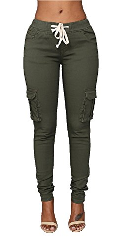 Pxmoda+Womens+Casual+Stretch+Drawstring+Skinny+Pants+Cargo+Jogger+Pants+%28S%2C+Army+Green%29