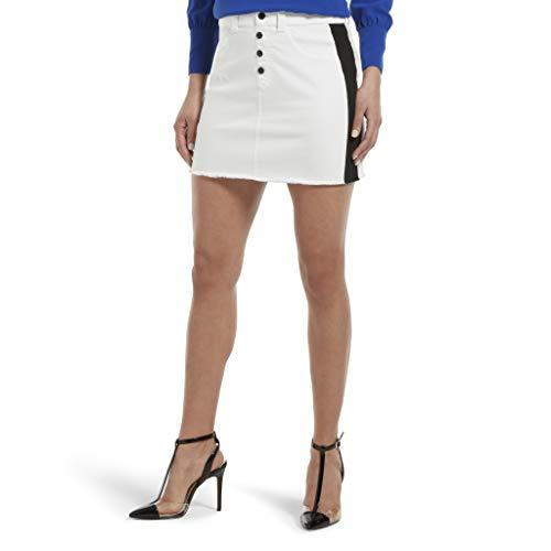 HUE Women's Denim Jean Skirt, White, ()