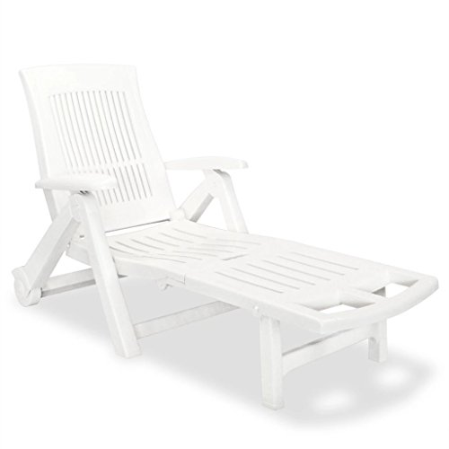 Festnight Outdoor Patio Chaise Lounge Chair with Wheels and Armrest 5 Position Backrest Adjustable Solid Plastic Frame Sun Lounger Bed Reclining Chair Pool Backyard Garden Balcony Furniture - Lounger Frame