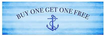 CGSignLab Buy One Get One Free 5-Pack 36x12 Nautical Stripes Window Cling