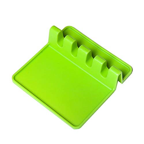 Heat Resistant Ladle Fork Mat Silicone Spoon Holder Utensil Rest Kitchen (Color - Green)