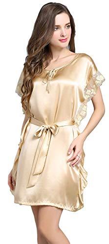 Champagne De Verano Mujer Cuello Anchas Casual Camisones Manga Cómodo Vestido Mujeres Sólidos Clásico Cortos Redondo Camisón Colores Corta Pijama Dormir 5f0ZHxZnw