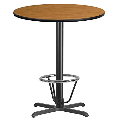 (MFO 36'' Round Natural Laminate Table Top with 30'' x 30'' Bar Height Table Base and Foot Ring)