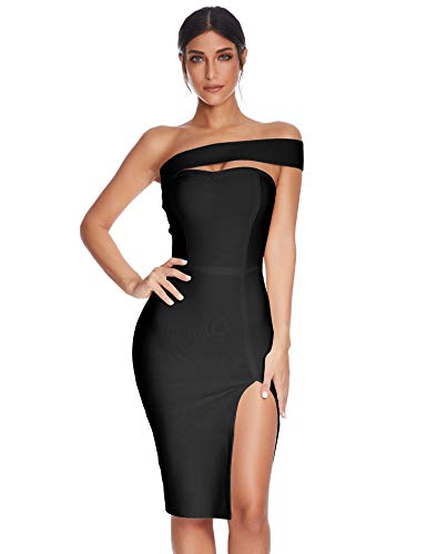 Celebrity Little Black Dress - Meilun Womens Bodycon Bandage Dress Vestidos One Shoulder Midi Celebrity Party Dresses (Black, L)
