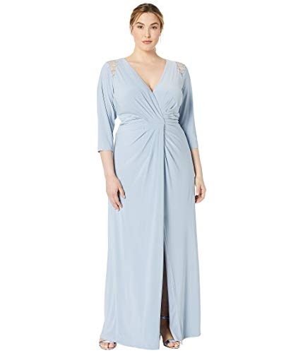 Adrianna Papell Women's Plus Size Embellished Trim Jersey Evening Gown Ice Blue 16 W