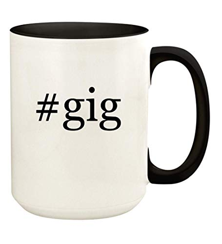 #gig - 15oz Hashtag Ceramic Colored Handle and Inside Coffee Mug Cup, Black ()