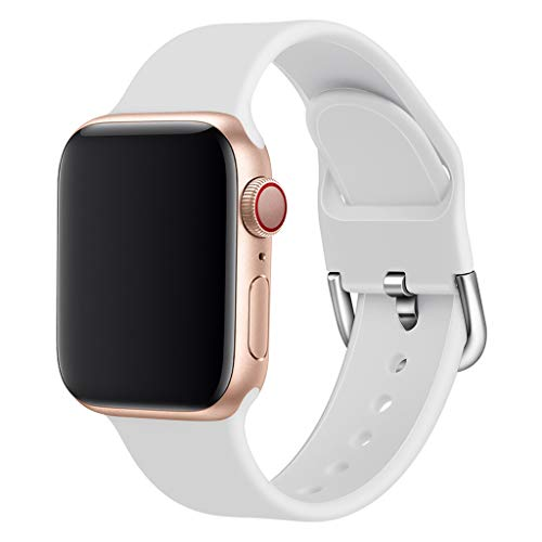 Vicole Bands for Apple Watch 42mm 44mm, New Solid Soft Silicone Sport Bracelet Replacement Wrist Band for iWatch Series 4/3/2/1 Accessories, Small Size for Women Men (White, One size)