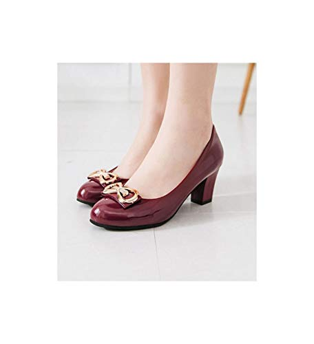 Leather Shoes Woman Pumps Metallic Heels Low Chunky 6.5Cm Sweet Cute Bow Edging D902 Wine Red 5