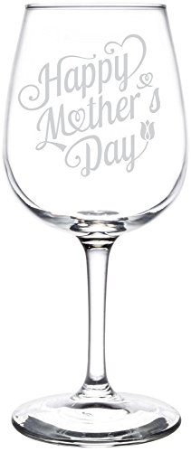(Hearts & Flower) Mother's Day Celebration Inspired – Laser Engraved 12.75oz Libbey All-Purpose Wine Taster Glass