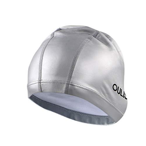 FEDULK Unisex Adult Swimming Hat Elastic Durable Waterproof Pool Beach Comfortable Swim Head Cap(G, One Size) -