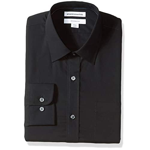 Essentials Regular-fit Wrinkle-Resistant Long-Sleeve Plaid Dress Shirt Hombre