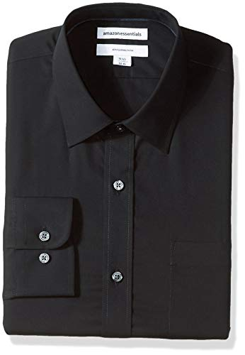 Amazon Essentials Men's Slim-Fit Wrinkle-Resistant Long-Sleeve Dress Shirt, Black, 18.5