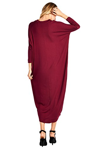 Dress S Long 2X USA Solid 12 Sleeve Cover Maxi Ami in Made Burgundy Up wH8qB0
