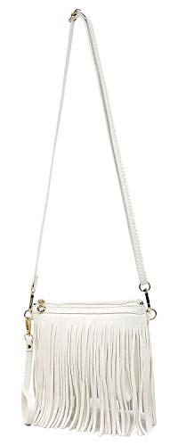 Tassel Fringe 091 Bag Hipster Bag Body Elphis Wristlet White Shoulder Vintage Cross Western Clutch qZEwS1