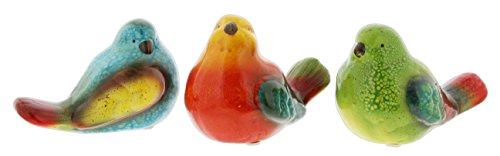Lucky Winner Set of 3 Assorted Ceramic Bird Figurines Rainbow Color]()