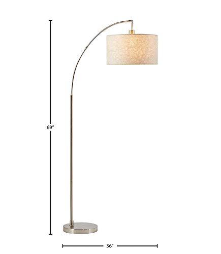 "Rivet Steel Arc Floor Lamp, 69""H, With Bulb, Fabric Shade 3"
