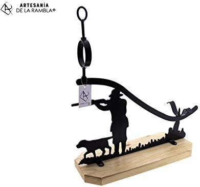 ARTESANÍA DE LA RAMBLA | Jamonero rústico | Jamonero Amazon | Jamonero de forja | Soporte jamonero | Jamonero Cazador | 58x20x60 cm