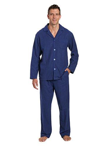 Noble Mount Men's 100% Cotton Flannel Pajama Set - Herringbone Navy - X-Large