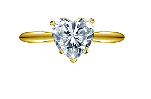 Clara Pucci 2.10 ct Brilliant Heart Cut CZ Designer Solitaire Ring in Solid 14k Yellow (Designer Solitaire Ring)