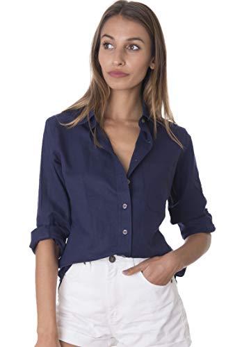 (CAMIXA Women's 100% Linen Casual Shirt Slim Fit Button-Down Airy Basic Blouse XS Navy Blue)