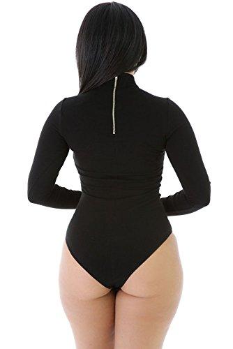 Nuevas señoras negro cuello de tortuga manga larga Bodysuit lencería trikini leotardo Teddies danza desgaste tamaño M UK 10–�?2EU 38–�?0