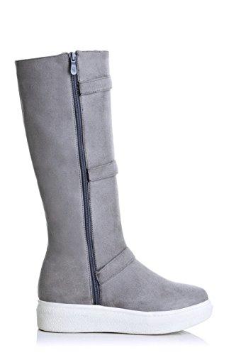 AgooLar Damen Rein PU Niedriger Absatz Reißverschluss Quadratisch Zehe Stiefel, Schwarz, 35