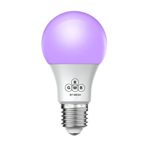 Magic Hue Bluetooth Mesh Smart Light Bulb, Multicolored, No Hub Required,  110-220v A19 E26 iOS Android App Controlled Smart Light Bulb