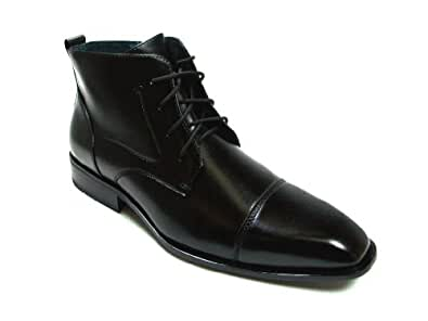Delli Aldo Mens Black Ankle High Oxford Lace Up Dress Casual Boots