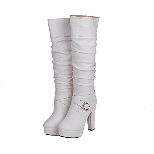 AgooLar Damen Knie Hohe Ziehen auf Blend-Materialien Hoher Absatz Rund Zehe Stiefel, Schwarz, 38