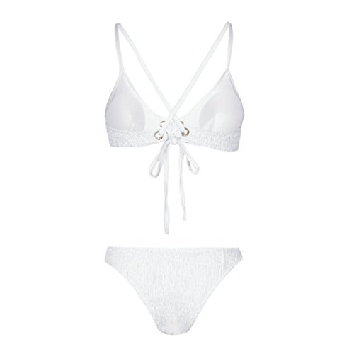 BZline Sujetador con relleno Push Up swimsuit Las mujeres traje de baño Bikini Set de Correas sólidas Blanco