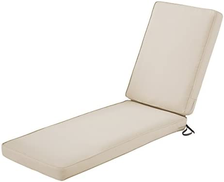 Classic Accessories Montlake Patio FadeSafe Chaise Lounge Cushion, Beige, 80 Lx26 Wx3 T