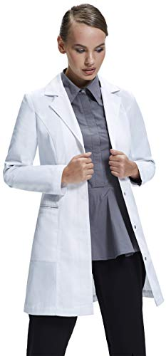 Dr. James Women's Lab Coat, Tailored Fit, Feminine Design, White, 33 Inch Length -