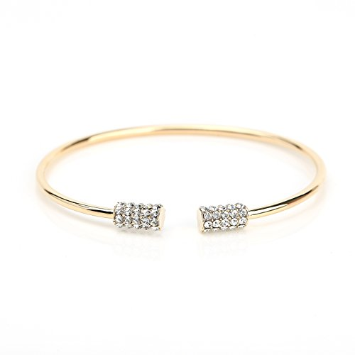 United Elegance Trendy Designer Bangle Bracelet with Sparkling Swarovski Style Crystals ()
