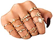 Cathercing Women Bohemian Knuckle Carved Flower Ring Vintage Silver Crystal Joint Knot Ring Set for Women and