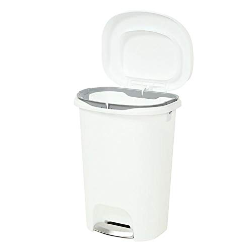 Bin 13 Gal Kitchen Home Plastic Step On Waste Foot Pedal Garbage Basket White Liner Lock Bag Easy Use ()