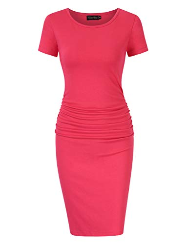 GloryStar Women's Long Sleeve Ruched Bodycon Midi Sheath Pencil Dress (L, Short Sleeve Watermelon Red) ()